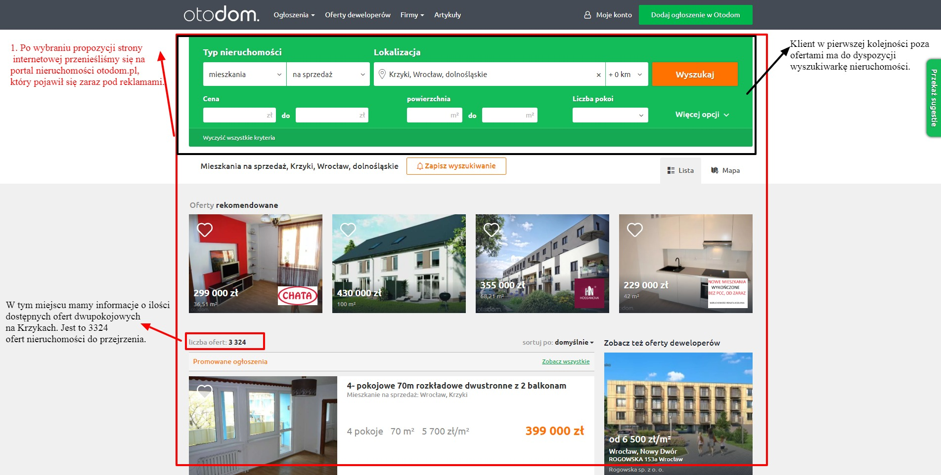 wyszukiwarka ogłoszeń nieruchomości na portalu otodom