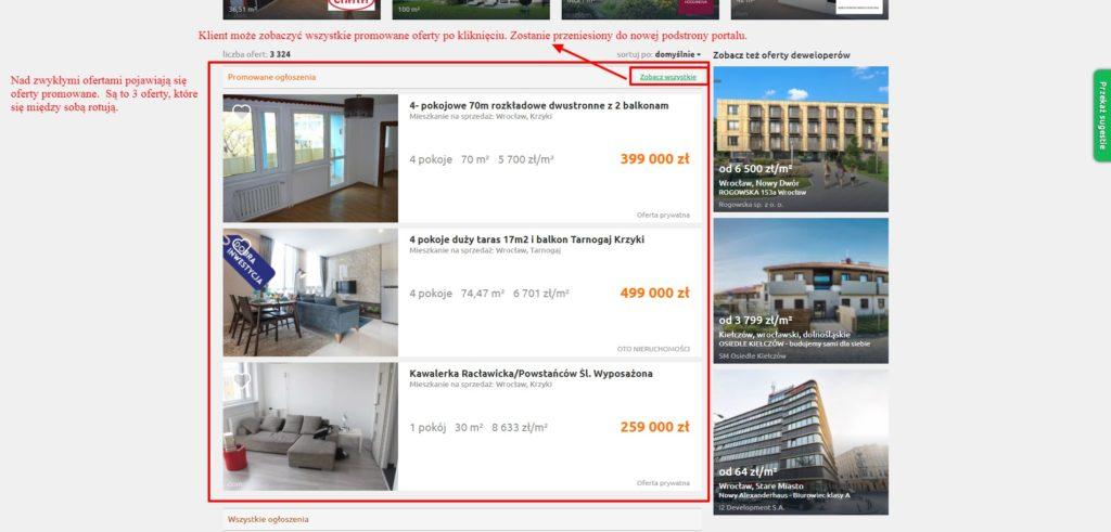 rozwijana lista ofert nieruchomości na portalu otodom